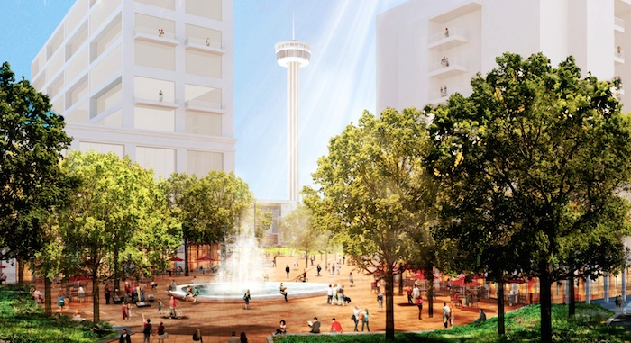 Rendering of the Source Plaza, which fronts Market and South Alamo Streets and allows views of the civic park and Tower of the Americas. Structures are rendered for mass visualization.