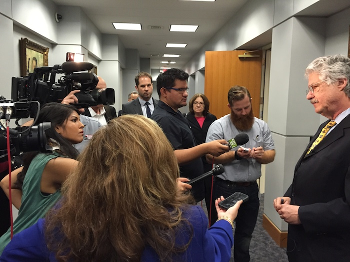 Houston attorney Jeff Londa, the City's lead negotiator, addresses media after Friday's negotiation meeting with SAPOA. Photo by Robert Rivard.