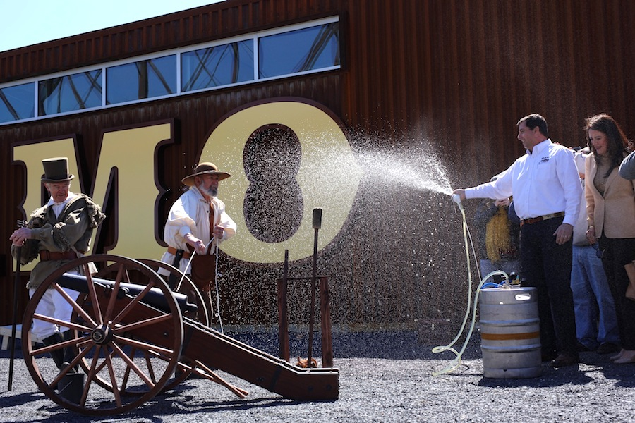 Alamo Beer Company President and Founder Eugene Simor taps the ceremonial keg at the grand opening of the Alamo Beer Company brewery. Photo by Scott Ball, courtesy of Alamo Beer.