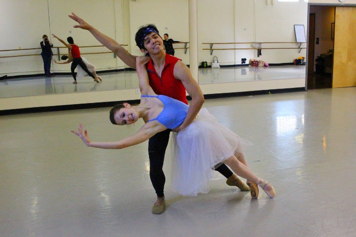 """Jayson Pescasio and Kate Maxted rehearse """"Donizetti Variations."""" Photo by Tami Kegley."""