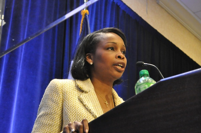 Mayoral candidate Mayor Ivy Taylor speaks at a forum hosted by the hospitality industry. Photo by Iris Dimmick.