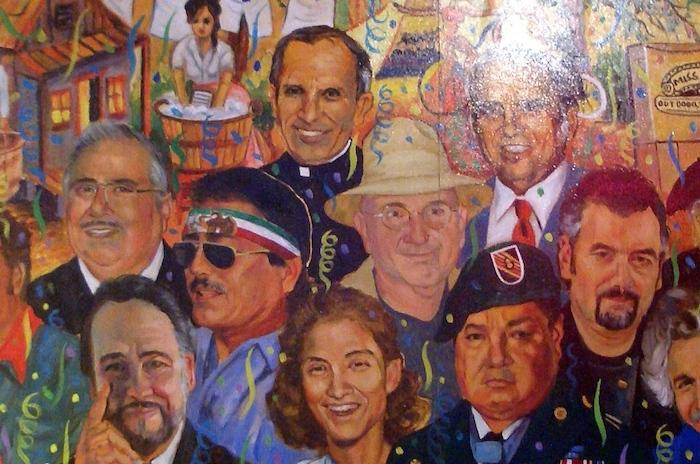 A mural of Father David Garza. Photo by Lily Casura.