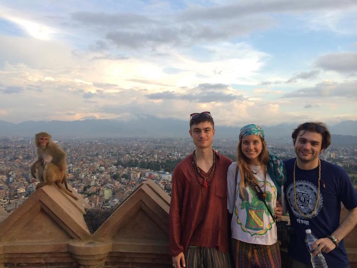At the Swayambhunath temple, or Monkey Temple, with my brothers in Kathmandu, Nepal. Photo by tourist.
