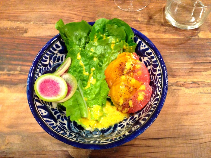 Pharm Table's desert: simpson seed bibb lettuce and golden beets with ruby red grapefruit. Photo by Wendy Weil Atwell.