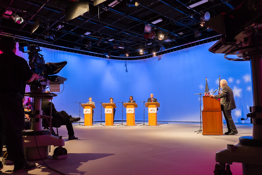 Mayoral candidates (from left) Mike Villarreal, Leticia Van de Putte, Mayor Ivy Taylor, and Tommy Adkisson meet for a forum hosted by Rick Casey at the KLRN-TV headquarters. Photo by Scott Ball.