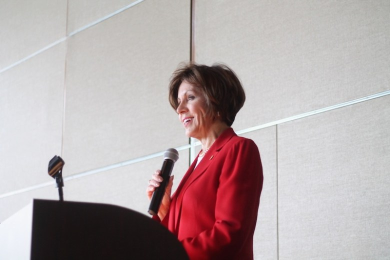 """City Manager Sheryl Sculley spoke at the Mayor's Commission on the Status of Women luncheonl. She said """"a lot of work"""" still needs to be done to help improve the lives of women in San Antonio. Photo by Amanda Lozano."""