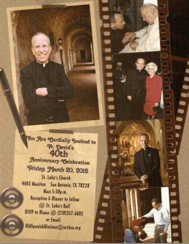 A invitation to Father David Garcia's 40th anniversary of his ordination.