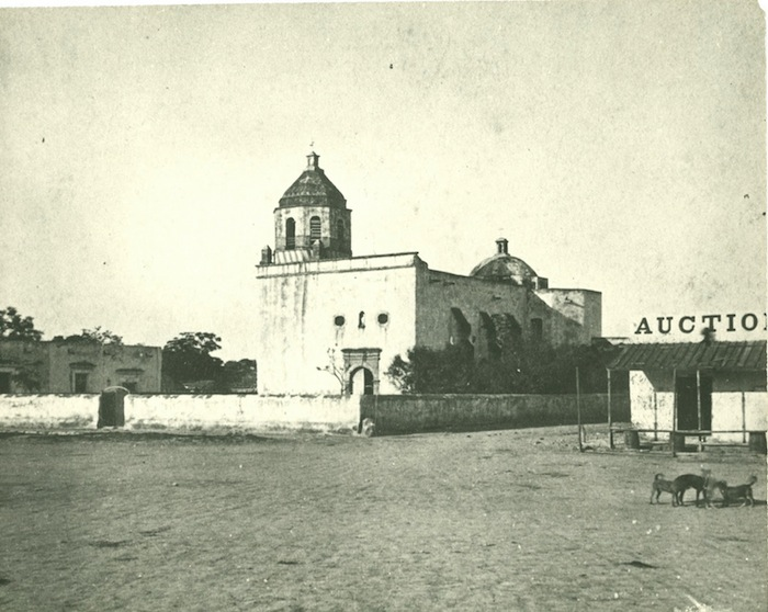 The Council House Fight took place in the building next to the San Fernando Cathedral. Historical Photo.