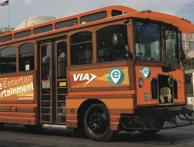 "The E route trollies will have a bright ""E"" that indicates a free ride. Photo courtesy of VIA Metropolitan Transit."