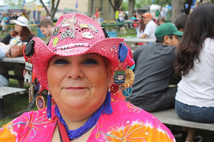 A reveler poses for a photo during the 2015 Fiesta Oyster Bake. Photo by Kay Richter.