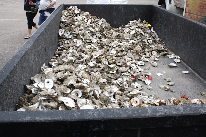 A pile of discarded oyster shells during the 2015 Fiesta Oyster Bake. Photo by Kay Richter.