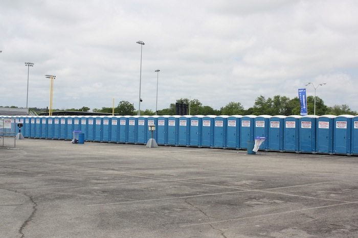 Mayor Fiesta events require major Porta Potties like these during the 2015 Fiesta Oyster Bake. Photo by Kay Richter.