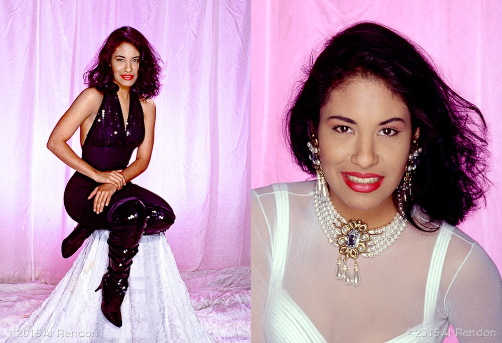 Selena's first studio shoot in 1992. Photo by Al Rendon.