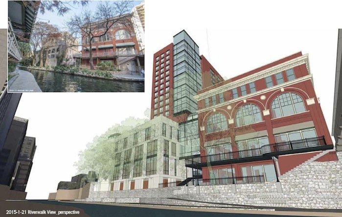 A view of the Book Building and hotel tower from the River Walk. Rendering courtesy of Overland Partners.