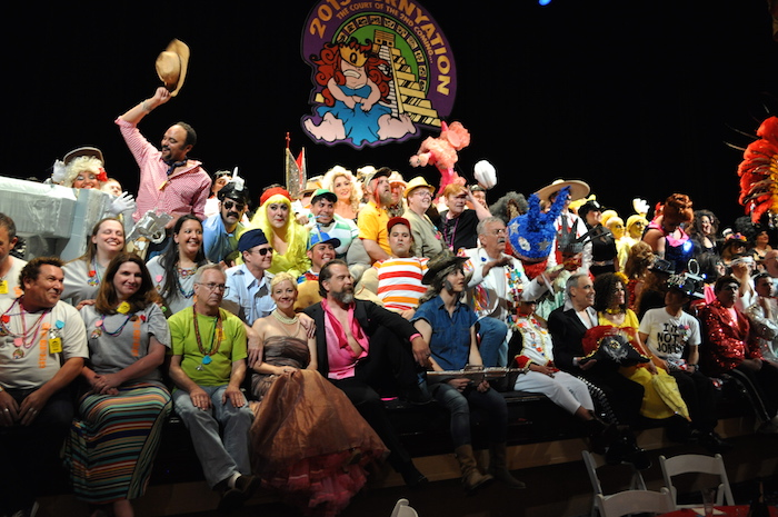 The Cornyation royalty and cast pose for a group photo after their first performance during Fiesta. Photo by Iris Dimmick.