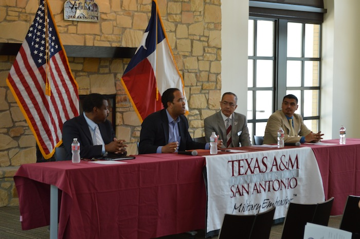 U.S. Rep. Will Hurd (R-San Antonio) of District 23 talks with guests at the grand opening of his local South Side field office Tuesday at Texas A&M University-San Antonio. Photo by Edmond Ortiz