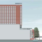 South elevation view of the proposed hotel on Soledad Street. Rendering courtesy of Overland Partners.