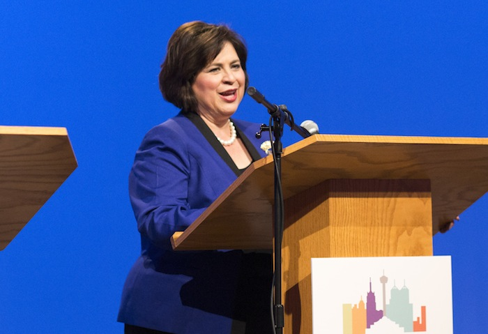 Mayoral candidate Leticia Van de Putte speaking at a forum hosted by Rick Casey at the KLRN -TV Mayoral Forum. Photo by Scott Ball.