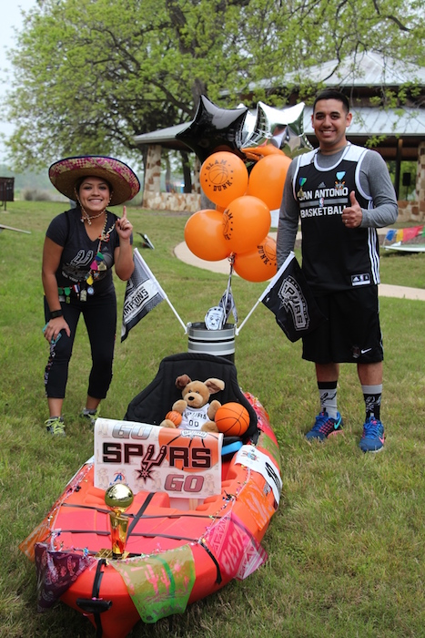 A couple shows off their float at the inaugural Mission Reach Float Fest on Saturday. Courtesy photo.