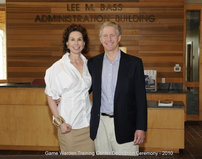 Ramona and Lee Bass at the Game Warden Training Center dedication ceremony. The Bass' were major donors to the project. Photo courtesy of Texas Parks and Wildlife.