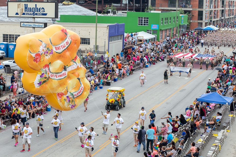 A Battle of Flowers float during the 2015 Battle of Flowers Parade in downtown San Antonio. Photo by Scott Ball.