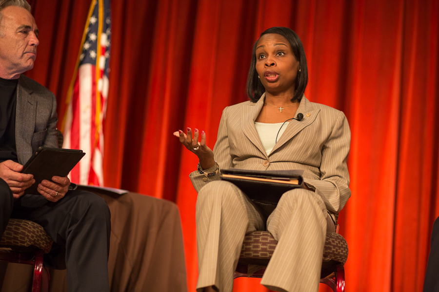Mayor Ivy Taylor speaks during Pints and Politics at The Pearl Brewery. Photo by Scott Ball.