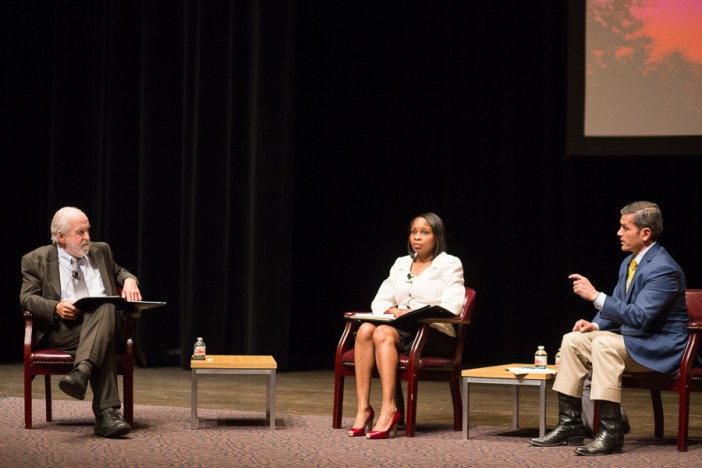 Candidate Mile Villarreal (right) replies to a question during a mayoral forum at Trinity University.  Photo by Scott Ball.