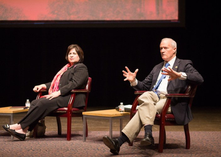 Candidate Tommy Adkisson speaks to the crowd during a mayoral forum at Trinity University.  Photo by Scott Ball.