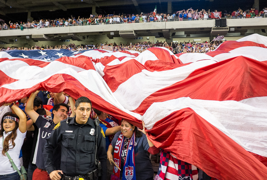 USA fans celebrate at the USA vs Mexico friendly match at the Alamodome. Photo by Scott Ball.