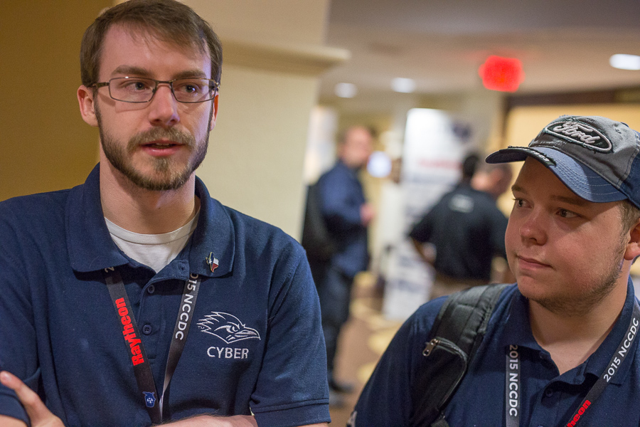 Justin Gray and Derek Bassham during the 2015 National Collegiate Cyber Defense Competition. Photo by Scott Ball.