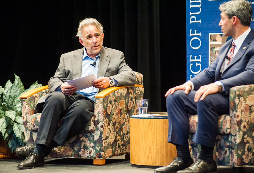 """Moderator Robert Rivard speaks to the panel during the discussion """"Conversations on Water,"""" at UTSA. Photo by Scott Ball."""