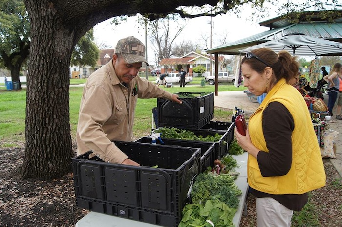 Councilmember Shirley Gonzales attends the first Collins Garden Farmers Market. Photo by Sean Encino.