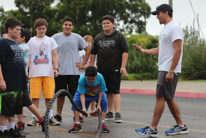 A group of students exercise with a rope during the Heights Health Expo. Photo by Joan Vinson.
