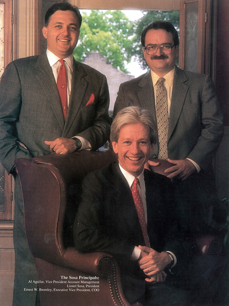 Photo of Al Aguilar with Lionel Sosa and Ernest Bromley, featured in Hispanic Business magazine in 1989. Courtesy Photo.