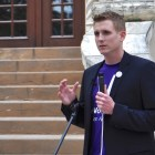 ThinkVoting co-founder Jeff Cardenas speaks during the Voting App Launch at City Hall. Photo by Iris Dimmick.