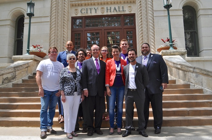ThinkVoting, SA2020, LWV, and Bexar County Representatives during the Voting App Launch at City Hall. Photo by Iris Dimmick.