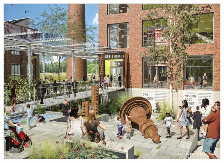 Preliminary rendering of the EPicenter's courtyard. Courtesy of Lake/Flato Architects.