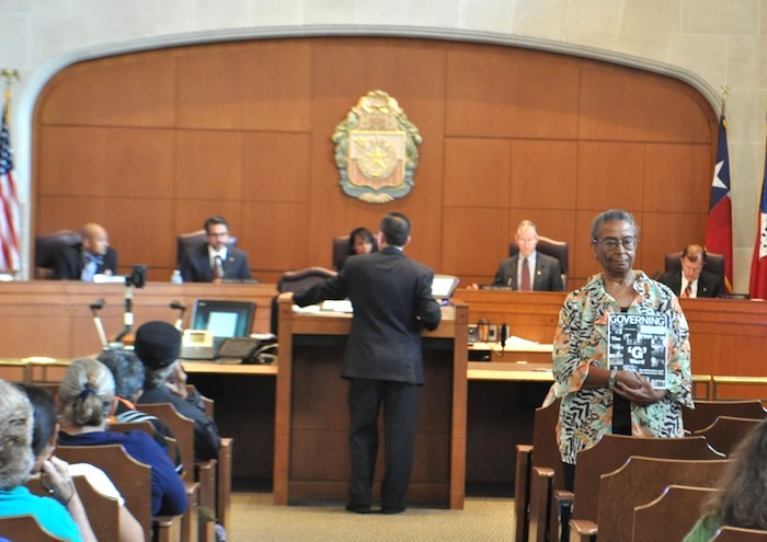 Nettie Hinton stands in opposition of the task force recommendation. Photo by Iris Dimmick.