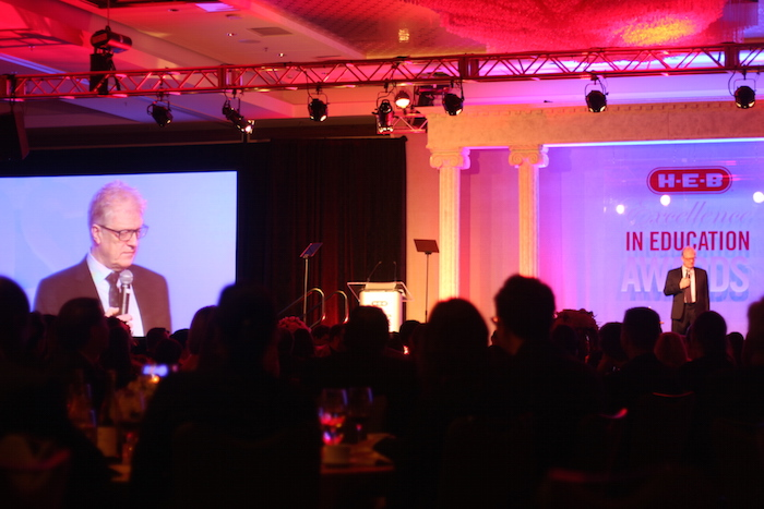 Sir Ken Robinson was the keynote speaker during the H-E-B Excellence in Education Awards banquet. Photo by Joan Vinson.