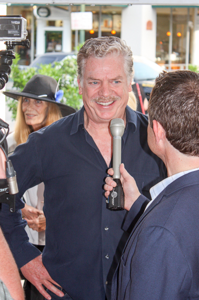 Actor Christopher McDonald talks to reporters outside the Alamo. Photo by Kay Richter.