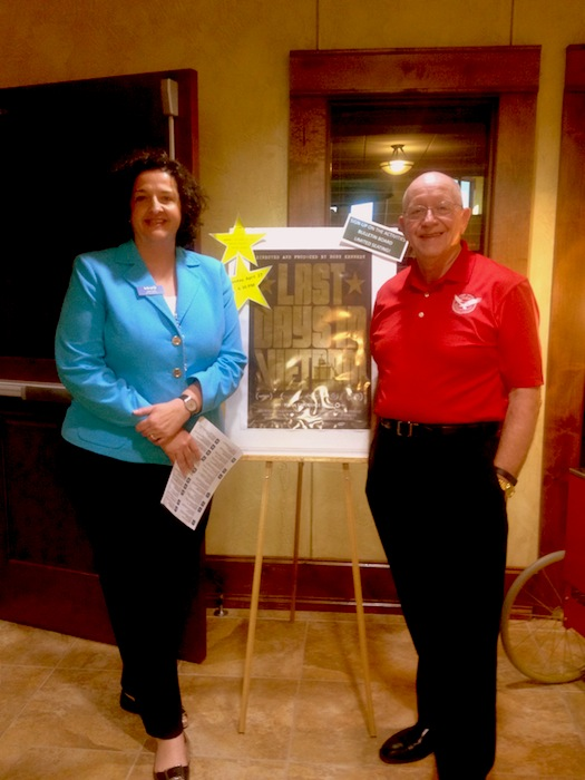 """KLRN COO Julie Coan and retired Army Colonel John Smith, at Army Residence Community showing of """"Last Days in Vietnam."""" Courtesy photo."""