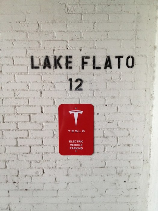Greg Papay's Tesla parking spot at Lake/Flato Architects.