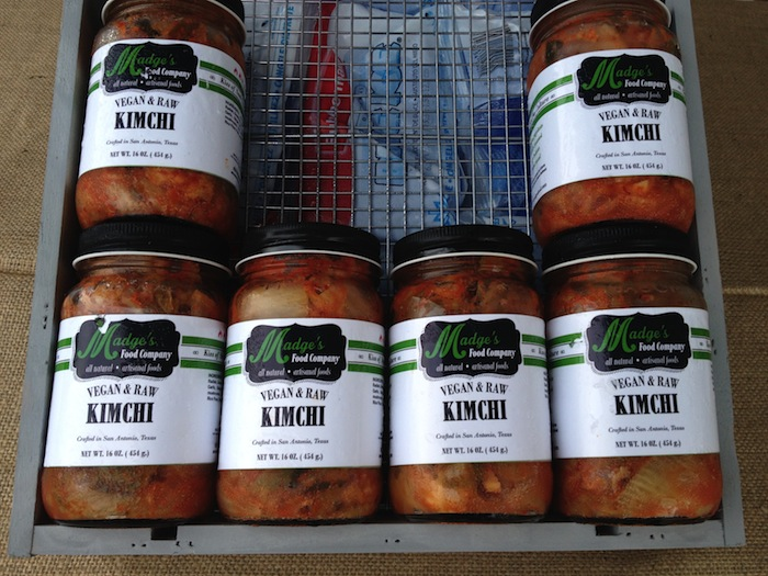 Vegan kimchi for sale by Madge's Food Company, a new local vendor that debuted at the Saturday market. Photo by Junda Woo.