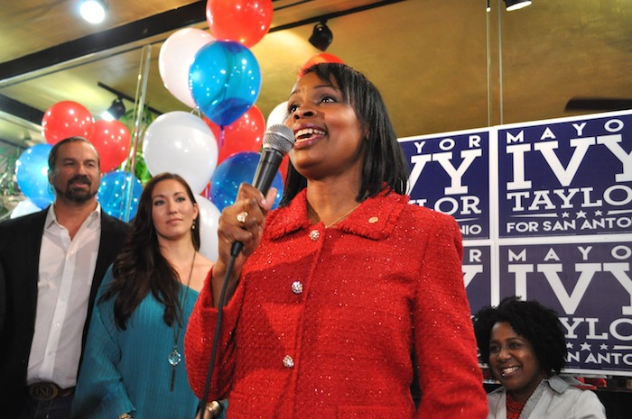 Mayor Ivy Taylor delivers her victory speech during her election watch party. Photo by Iris Dimmick.