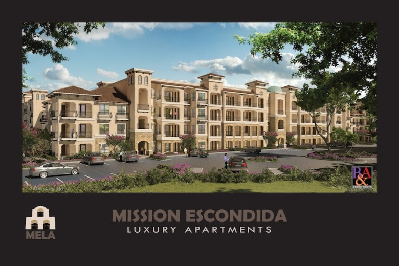 A rendering of Mission Escondida Luxury Apartments courtesy of B&A Architects.