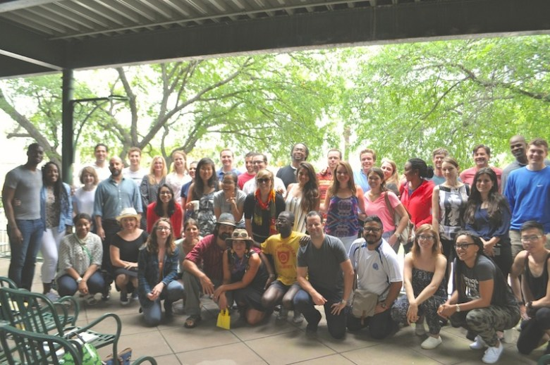The third cohort of the Millennial Trains Project and local San Antonio presenters pose for photo in St. Paul Square. Photo by Iris Dimmick.