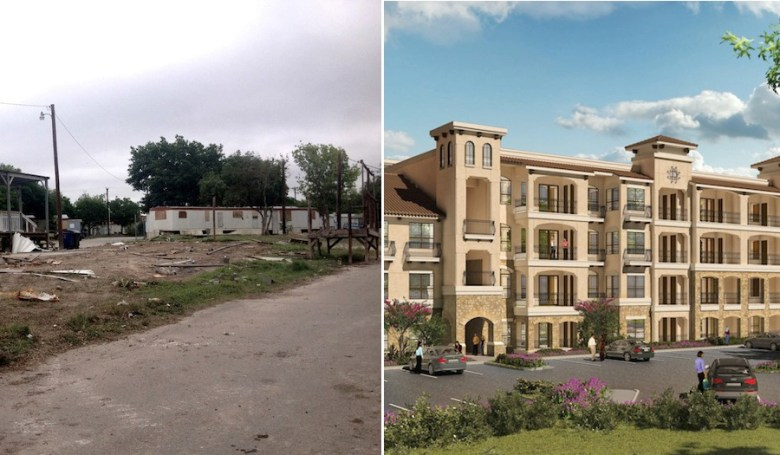 Left: An trash-filled lot at Mission Trails Mobile Home Park. Photo taken in April 2014, before residents were forced to leave. Photo by Robert Rivard. Right: A rendering of Mission Escondida courtesy of B&A Architects.