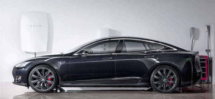 A Tesla using a Powerwall battery. Photo courtesy of Tesla website.