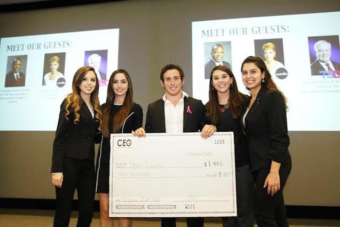 Photo taken at first pitch competition last November. From left to right is: me (Kimberly Todd), Maria Acevedo, Edgar Ibarra (he wont first place), Amanda Johnson, and Sarah Olivarez. Photo courtesy of Kimberly Todd.