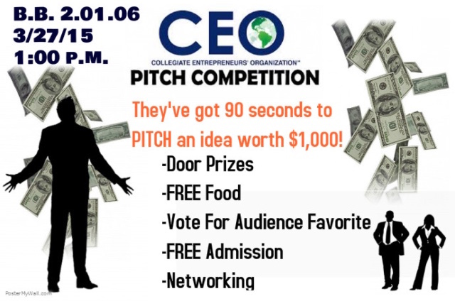 A flyer I designed that we used to get the audience to come to the event for the March Pitch Competition. Image courtesy of Kimberly Todd.